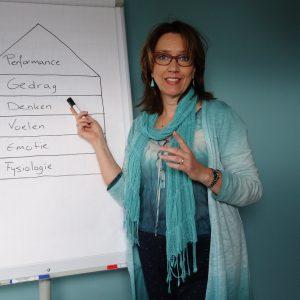 Anette de Jong bij de flipover tijdens een training hartcoherentie bij wantdatklopt.nl