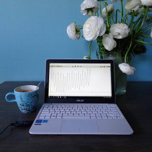 laptop met op het beeldscherm de weergave van het hartritme tijdens een HeartMath training