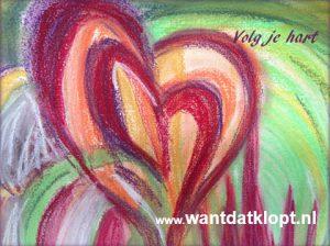 """tekening van een hart met de tekst """"Volg je hart, www.wantdatklopt.nl"""". Logo van wantdatklopt.nl, stress training"""