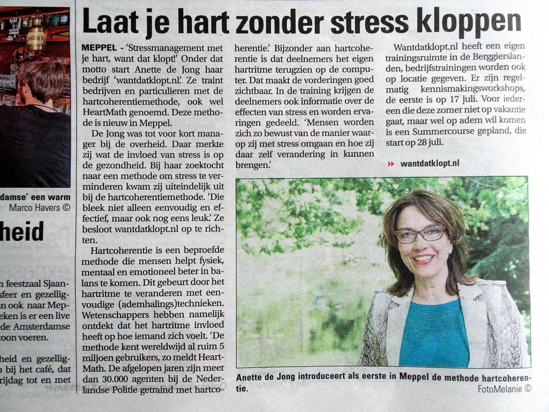 artikel Meppeler courant juli 2017, met als kop: Laat je hart zonder stress kloppen