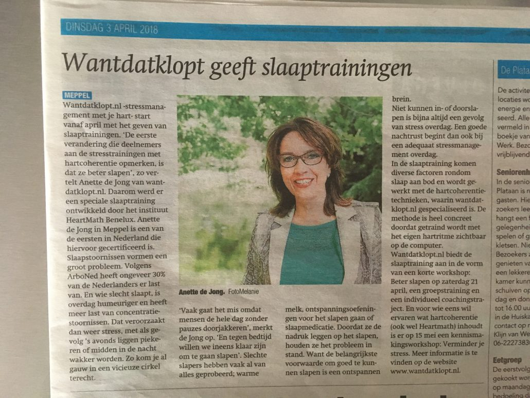 slaaptraining in meppeler courant
