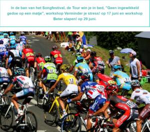 wielrenners in de Tour de France en vooraankondiging van de onderwerpen in de nieuwsbrief van wantdatklopt.nl